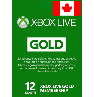 Xbox Live Gold 12 Months (Canada)
